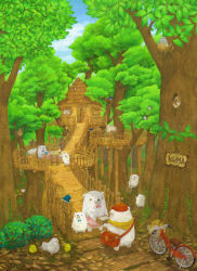apron bag bear bicycle bird bird_nest blue_sky bowtie bridge chair chick chicken cloud colored_pencil_(medium) forest hat highres nature no_humans original outdoors romaji sitting sky st.kuma standing swing table traditional_media tree treehouse watercolor_(medium)