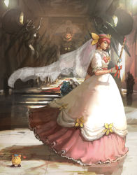 1girl angel_peach bow dress frills hanasaki_momoko jama-p_(wedding_peach) jamapi long_dress pink_bow pink_hair ribbon scepter shaonav veil vial wedding_dress wedding_peach yellow_bow