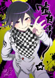 1boy arm_behind_back bent_over black_hair buttons chains checkered_scarf cowboy_shot danganronpa doyagao dutch_angle looking_at_viewer male_focus new_danganronpa_v3 ouma_kokichi purple_eyes scarf signature sly smile smug solo splatter straitjacket text tokimachi_eisei translation_request two-tone_background waving