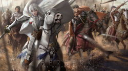 1girl 6+boys arrow battle berserk blonde_hair bow_(weapon) breastplate cape casca copyright_name crossbow gauntlets gradient_background griffith guts horse horseback_riding knight lightofheaven long_hair multiple_boys polearm riding short_hair spear sword war weapon youkai_kusaregedo