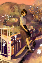 1girl bag black_eyes black_hair blurry bob_cut bridge chain-link_fence depth_of_field faux_traditional_media fence hill kashiwagi_chisame light_smile loafers looking_at_viewer looking_to_the_side muted_color original railing scenery school_bag school_briefcase school_uniform shoes short_hair sitting sitting_on_railing skirt solo