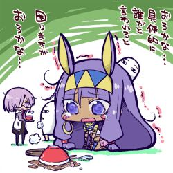 2girls animal_ears blue_eyes blush dark_skin dress fate/grand_order fate_(series) glasses hair_over_one_eye hairband jacket midriff multiple_girls nitocris_(fate/grand_order) open_mouth pantyhose purple_eyes purple_hair shielder_(fate/grand_order) short_hair skirt tattoo tears