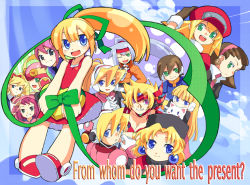 00s 6+girls aile alia alia_(rockman) alouette_(rockman_zero) aqua_hair ashe ashe_(rockman) blonde_hair blue_eyes brown_hair capcom child ciel_(rockman) everyone green_eyes hibiki_misora kalinka_cossack marti multiple_girls red_skirt rockman rockman_(classic) rockman_dash rockman_exe rockman_x rockman_zero rockman_zx rockman_zx_advent roll roll_caskett roll_exe ryuusei_no_rockman sakurai_meiru shigehiro_(artist) shigehiro_(hiroi_heya) shirogane_luna skirt tron_bonne
