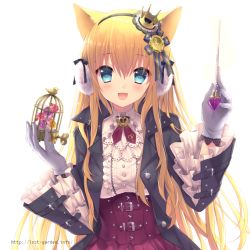 1girl :d animal_ears aqua_eyes belt birdcage blonde_hair cage cat_ears center_frills conductor crown earmuffs flower hair_ribbon hairband jacket long_hair open_clothes open_jacket open_mouth original ribbon sakura_neko smile solo treble_clef very_long_hair watermark web_address winding_key