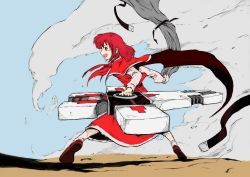 1girl bow cape color colored cross female gun nicholas_d_wolfwood nicholas_d_wolfwood_(cosplay) okazaki_yumemi open_mouth pandemonium parody phantasmagoria_of_dim._dream red_eyes red_hair sky smoke solo touhou touhou_(pc-98) trigun weapon
