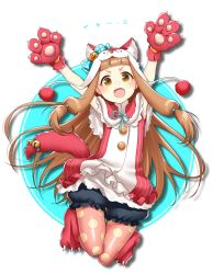 1girl :d animal_costume animal_ears animal_hat arms_up bangs bell blunt_bangs bow brown_eyes brown_hair buttons capelet fang frills full_body gloves halloween hat hattori_masaki ichihara_nina idolmaster idolmaster_cinderella_girls japanese jumping lace legwear_under_shorts long_hair looking_at_viewer low-tied_long_hair open_mouth pantyhose paw_gloves paw_shoes pink_legwear polka_dot polka_dot_bow polka_dot_legwear pom_pom_(clothes) puffy_shorts pumkin pumpkin ribbon shoes shorts smile solo striped tail tail_bell thigh_gap very_long_hair wolf_costume wolf_ears wolf_tail yellow_eyes