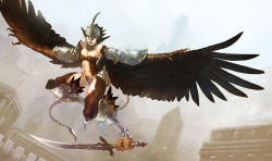 1girl armor breasts buildings feathers female flying harpy monster_girl open_mouth outdoors pixiv_fantasia solo sword weapon yuzu_shio