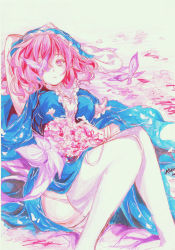 1girl alitia artist_name breasts butterfly dated dress expressionless flower garter_straps hand_on_head highres japanese_clothes juliet_sleeves kimono knees_together_feet_apart long_sleeves looking_at_viewer lying marker_(medium) mob_cap moon on_back pink_eyes pink_hair puffy_sleeves raised_hand saigyouji_yuyuko sash short_hair solo thighhighs touhou traditional_media triangular_headpiece white_legwear wide_sleeves