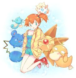 1girl :p azurill bare_legs blue_eyes breasts bubble_background cleavage earrings hands_in_pockets hoodie horsea jewelry joypyonn kasumi_(pokemon) off_shoulder open_clothes open_hoodie orange_hair pokemon pokemon_(anime) psyduck shoes short_hair shorts side_ponytail smile sneakers staryu tank_top togepi tongue tongue_out