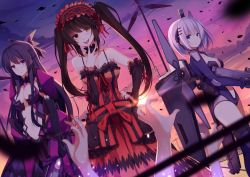 armor bodysuit date_a_live dress gun mecha_musume rizky_(strated) sword tobiichi_origami tokisaki_kurumi weapon yatogami_tooka