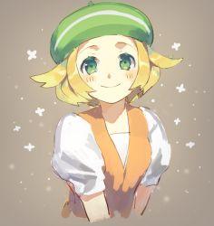 1girl bel_(pokemon) beret blonde_hair blush bust flipped_hair green_eyes hat pokemon pokemon_(game) pokemon_bw short_hair smile solo weee_(raemz)
