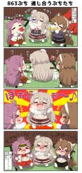 +++ 4koma ? alcohol animal_ears arm_up arms_up ashigara_(kantai_collection) beer beer_mug blonde_hair blush bottle bow brown_hair cola comic commentary_request drawing drinking drunk expressive_hair eyes_closed fang gloves hairband headband highres holding holding_bottle jacket jun'you_(kantai_collection) kantai_collection long_hair marker musical_note open_clothes open_jacket open_mouth pola_(kantai_collection) puchimasu! purple_hair quaver shirt_lift skirt smile spiked_hair tail tatami translation_request triangle_mouth undressing wolf_ears wolf_tail yuureidoushi_(yuurei6214)