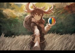 1girl animal_ears antlers ball baton blush brown_eyes brown_hair brown_scarf brown_skirt brown_vest commentary cowboy_shot eyebrows_visible_through_hair eyelashes hair_between_eyes holding holding_ball kemono_friends koruse letterboxed long_hair long_sleeves looking_at_viewer moose_(kemono_friends) moose_ears mountain multicolored_shirt outdoors pleated_skirt pov scarf scenery shirt skirt smile solo tree tsurime vest wavy_hair wind