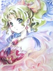 1girl abstract_background bare_shoulders cape detached_sleeves earrings final_fantasy final_fantasy_vi graphite_(medium) green_eyes green_hair highres jewelry looking_at_viewer nijinohouseki ponytail solo tina_branford traditional_media watercolor_(medium)