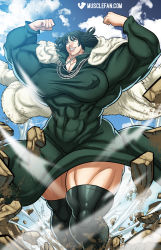 extreme_muscles fubuki_(one-punch_man) green_eyes green_hair one-punch_man