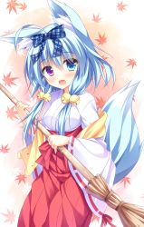 1girl :3 :d absurdres animal_ears bangs bell blue_eyes blue_hair blue_ribbon blush bow breasts broom brown_background cowboy_shot eyebrows_visible_through_hair falling_leaves fox_ears fox_girl fox_tail hair_bell hair_between_eyes hair_bow hair_ornament hakama hand_up heterochromia highres holding holding_broom japanese_clothes jingle_bell kemonomimi_mode kimono leaf long_hair long_sleeves looking_at_viewer looking_to_the_side low_twintails maple_leaf medium_breasts miko minatsuki_kou nanakuni_kotone natsuiro_kokoro_log open_mouth purple_eyes red_hakama red_skirt ribbon ribbon-trimmed_sleeves ribbon_trim shiny shiny_hair skirt smile solo standing striped striped_ribbon tail twintails two-tone_background white_background white_kimono wide_sleeves