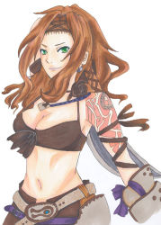 1girl aq_interactive armor bare_shoulders belt bra breasts brown_hair cleavage earrings flower green_eyes headband jewelry long_hair midriff mistwalker navel nintendo rose seiren_(the_last_story) short smile tattoo the_last_story underwear