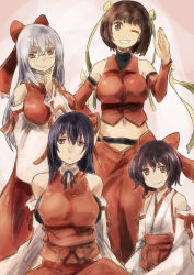 4girls bare_shoulders black_hair borrowed_character bow breasts brown_eyes brown_hair detached_sleeves glasses grey_hair grin hair_bow hair_ribbon large_breasts long_hair m.u.g.e.n multiple_girls navel original ribbon sendai_hakurei_no_miko short_hair smile smirk touhou wide_sleeves yohane