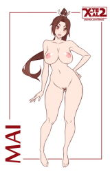 1girl areolae barefoot breasts brown_eyes brown_hair character_name contrapposto fatal_fury female flat_color full_body gluteal_fold hand_on_hip large_breasts looking_at_viewer matching_hair/eyes navel nipples nude open_mouth ponytail pubic_hair shiranui_mai solo the_king_of_fighters watermark web_address white_background x-teal2