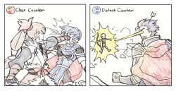 2koma 3boys arrow arrow_in_head bad_source bow_(weapon) comic counter eye_beam fire_emblem_heroes gameplay_mechanics hector_(fire_emblem) laser_sight male_focus marth md5_mismatch multiple_boys punching resized takumi_(fire_emblem_if) tecchen upscaled weapon