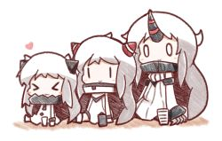 >_< 0_0 3girls :3 airfield_hime blush_stickers c: chibi claws dress horn horns kantai_collection multiple_girls northern_ocean_hime nuu_(nu-nyu) seaport_hime shinkaisei-kan smile white_dress white_hair |_|