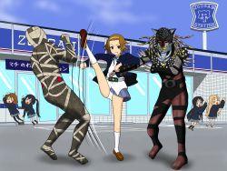 akiyama_mio chibi copyright_request high_kick hirasawa_yui jophiel k-on! kicking kotobuki_tsumugi nakano_azusa outdoors school_uniform tainaka_ritsu what white_panties
