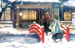 2boys architecture bare_tree bridge brown_hair east_asian_architecture from_behind hakama haori high_ponytail icicle japanese_clothes kashuu_kiyomitsu looking_back male_focus multiple_boys nuriko-kun open_mouth outdoors ponytail red_scarf sandals scarf shinsengumi snow snowing touken_ranbu tree white_scarf