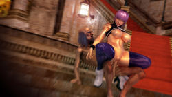 1girl 3d abs ayane_(doa) bald boots breasts castle dead_or_alive dead_or_alive_5 female lamp large_breasts latex latex_thighhighs muramasa nipples nude old old_man outside public_sex purple_hair red_eyes sex shiny skinny stairs tagme tights topless ugly_man uncensored window