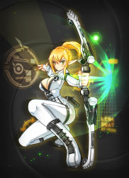 1girl absurdres alternate_hair_color black_background blonde_hair bodysuit bow_(weapon) breasts cleavage elsword expressionless fingerless_gloves gloves green_eyes highres long_hair looking_at_viewer ming_(wldi0132) no_nose open_clothes open_shirt pointy_ears ponytail rena_(elsword) shirt sidelocks solo squatting weapon white_gloves