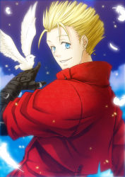 1boy bird blonde_hair feathers inukoro_(spa) solo trigun vash_the_stampede