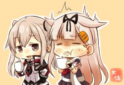2girls artist_name black_gloves black_ribbon black_serafuku black_skirt blonde_hair brown_eyes capelet commentary_request cross cup frown gloves graf_zeppelin_(kantai_collection) hair_flaps hair_ornament hair_ribbon hairclip holding holding_cup jacket kantai_collection long_hair long_sleeves multiple_girls neckerchief open_mouth orange_background pleated_skirt red_neckerchief remodel_(kantai_collection) ribbon scarf school_uniform serafuku short_sleeves sidelocks simple_background skirt taisa_(kari) twintails white_jacket white_scarf yuudachi_(kantai_collection)