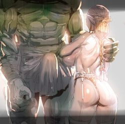 1boy 1girl ass blonde_hair bow_(bhp) braid breasts bulge cleavage clothed_erection elf from_behind garter_belt garter_straps hetero huge_breasts imminent_rape long_hair orc original out_of_frame panties pointy_ears sideboob standing thighhighs topless underwear