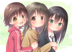 3girls :d black_hair blazer blush brown_eyes brown_hair cardigan from_side girl_sandwich green_eyes honda_mio idolmaster idolmaster_cinderella_girls long_hair multiple_girls necktie open_mouth ramble sandwiched school_uniform shibuya_rin shimamura_uzuki short_hair smile