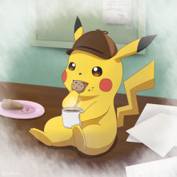 blush_stickers commentary_request cookie cup deerstalker detective_pikachu eating food great_detective_pikachu:_the_birth_of_a_new_duo hat highres no_humans pikachu pokemon sitting solo steam tail