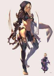 1girl aqua_eyes armor artist_name beige_background between_fingers bikini_armor black_legwear black_panties black_rose blonde_hair braid breasts bridal_gauntlets closed_mouth commentary_request corset curly_hair dark_skin dress dual_wielding eyelashes fantasy flower frilled_dress frills full_body garter_straps gem hair_flower hair_ornament hair_over_one_eye hair_over_shoulder high_heels highres holding holding_sword holding_weapon holster hood jewelry juliet_sleeves knife kotatsu_(g-rough) long_dress long_hair long_sleeves looking_at_viewer medium_breasts necklace no_shoes one_eye_covered original panties pauldrons puffy_sleeves purple_lips purple_shoes red_rose rose scabbard sheath shin_guards shoes side_slit signature simple_background standing sword thigh_holster thighhighs throwing_knife toeless_legwear underboob underwear unsheathed vambraces weapon wide_sleeves