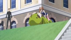 2girls animated animated_gif bare_shoulders blush breasts brown_hair bubbles cleavage code_geass dust fading female grass hair_ribbon long_hair lying maid multiple_girls ribbon shirley_fenette twintails
