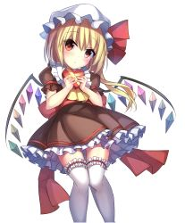1girl alternate_costume blonde_hair blush bow brown_dress crystal demon_wings dress eyebrows_visible_through_hair flandre_scarlet frilled_shirt_collar frills gift hat hat_ribbon head_tilt heart-shaped_box highres holding holding_gift janne_cherry knees_together_feet_apart long_hair looking_at_viewer mob_cap puffy_short_sleeves puffy_sleeves rainbow_order red_bow red_eyes red_ribbon ribbon sash short_sleeves side_ponytail solo standing tareme thigh_gap thighhighs touhou valentine w_arms white_hat white_legwear wings zettai_ryouiki