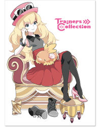 1girl black_legwear black_shirt black_shoes blonde_hair blue_eyes chair chamooi english feet high_heels long_hair mega_ring nail_polish official_art pink_shoes pleated_skirt pokemon pokemon_(game) pokemon_xy red_hat red_skirt serena_(pokemon) shirt shoe_dangle shoes shoes_removed simple_background single_shoe sitting sitting_on_person skirt sleeping_on_person sleeveless smile sneakers sunglasses sunglasses_on_head thighhighs torchic white_background