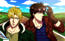 2boys argyle bad_boy blonde_hair brown_hair caesar_anthonio_zeppeli facial_mark fur_collar gloves goggles goggles_on_head green_eyes jacket jojo_no_kimyou_na_bouken joseph_joestar_(young) leather_jacket male multiple_boys