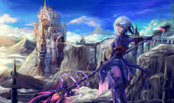 1girl armor artist_request au_ra bridge castle cloud dragoon_(final_fantasy) final_fantasy final_fantasy_xiv forehead_mark glowing_weapon horns looking_back monster_girl mountain red_eyes scale_armor scenery short_hair silver_hair solo spear sunlight tail