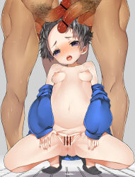 1girl 2boys anus ass bar_censor blush breasts censored clitoris esouko female loli looking_at_viewer multiple_boys multiple_penises nude open_mouth pointless_censoring presenting pubic_hair pussy pussy_juice saliva shiny_hair shiny_skin short_hair small_breasts solo spread_legs spread_pussy tears testicles tongue