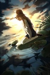 1girl backlighting black_shoes blonde_hair blue_skirt blue_vest closed_mouth cloud cloudy_sky dutch_angle eyes_closed from_side full_body hand_on_own_chest hat lake lily_pad long_hair long_sleeves mary_janes moriya_suwako profile ripples seiza shoes sidelocks silence_girl sitting skirt skirt_set sky solo sunlight thighhighs touhou white_legwear wide_sleeves zettai_ryouiki