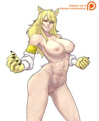1girl akame_ga_kill! blonde_hair breasts large_breasts leone muscular nude simple_background solo tagme yellow_eyes
