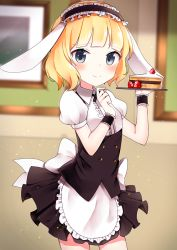 1girl animal_ears apron aqua_eyes bangs black_skirt blonde_hair blunt_bangs blush bunny_ears cake collared_shirt cowboy_shot eyebrows_visible_through_hair fake_animal_ears fleur_de_lapin_uniform floppy_ears food frame frills fruit gochuumon_wa_usagi_desu_ka? headdress holding holding_tray indoors kirima_sharo kurutsu looking_at_viewer puffy_short_sleeves puffy_sleeves shirt short_hair short_sleeves skirt smile solo strawberry tray waist_apron wall white_shirt wrist_cuffs