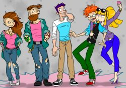 2016 2girls 3boys angelica_pickles arm_around_shoulder artist_name bangs beard belt blonde_hair blunt_bangs brother_and_sister brown_hair buck_teeth chuckie_finster commentary dated denim earrings eye_contact eyebrow_piercing eyelashes eyeshadow facial_hair freckles glasses goatee hands_in_pockets high_heels jeans jewelry lil_deville long_hair looking_at_another makeup multiple_boys multiple_girls multiple_piercings necklace necktie off_shoulder older one_eye_closed orange_hair pants parted_lips phil_deville piercing ponytail purple_hair rugrats self_shot siblings signature smile standing stubble sunglasses sunglasses_on_head tattoo tommy_pickles tongue torn_clothes torn_jeans vest warren_blakely