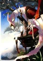 1girl animal_ears blue_sky cachu claws copyright_name creature dragon grass hair_between_eyes highres long_hair monster_girl pillow pixiv_fantasia pixiv_fantasia_t plant pointy_ears polearm saddle sky solo spear symbol-shaped_pupils thighhighs tree weapon white_hair yellow_eyes
