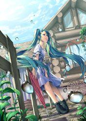 1girl cloud dress dutch_angle floating_hair green_eyes green_hair hatsune_miku high_heels hinase_kanoto long_hair sky solo twintails umbrella very_long_hair vocaloid window