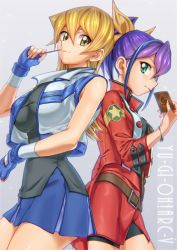 2girls belt bike_shorts blonde_hair blue_hair bracelet breasts brown_eyes buckle card copyright_name cropped_jacket fingerless_gloves gloves green_eyes hair_ribbon impossible_clothes jacket jewelry large_breasts long_hair looking_at_another moz_(gosgo) multicolored_hair multiple_girls ponytail purple_hair ribbon serena_(yuu-gi-ou_arc-v) shiny shiny_hair short_hair skirt smile tenjouin_asuka two-tone_hair yu-gi-oh! yuu-gi-ou_arc-v yuu-gi-ou_gx zipper