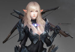 1girl armor armored_boots artist_name blonde_hair bolt boots bow_(weapon) bra breasts chainmail cleavage covered_navel crossbow detached_collar dual_wielding elf full_body green_eyes lace lace-trimmed_bra lips long_hair neko_(314089734) original pointy_ears skin_tight solo spaulders underwear vambraces wavy_hair weapon