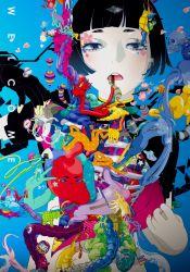 1girl black_hair blush elephant eyebrows eyes heart highres hiroyuki_takahashi open_mouth organs original skull star teeth text v